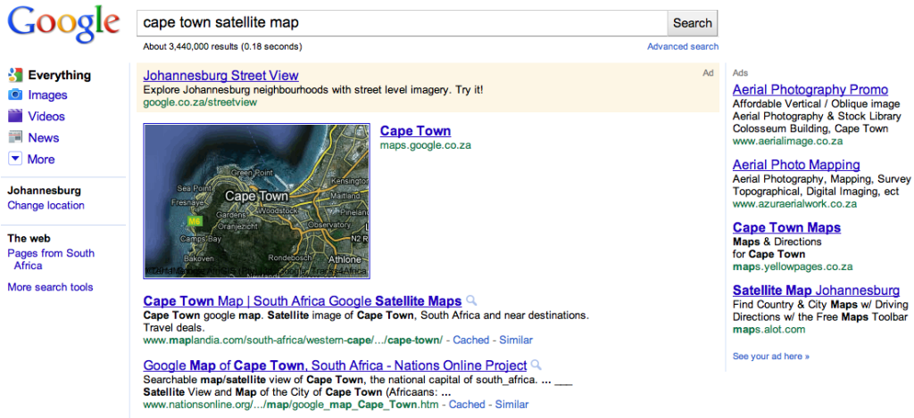 Cape Town Google Map