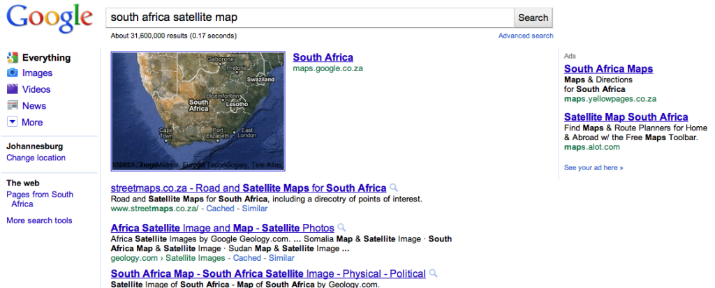 South Africa Google Map