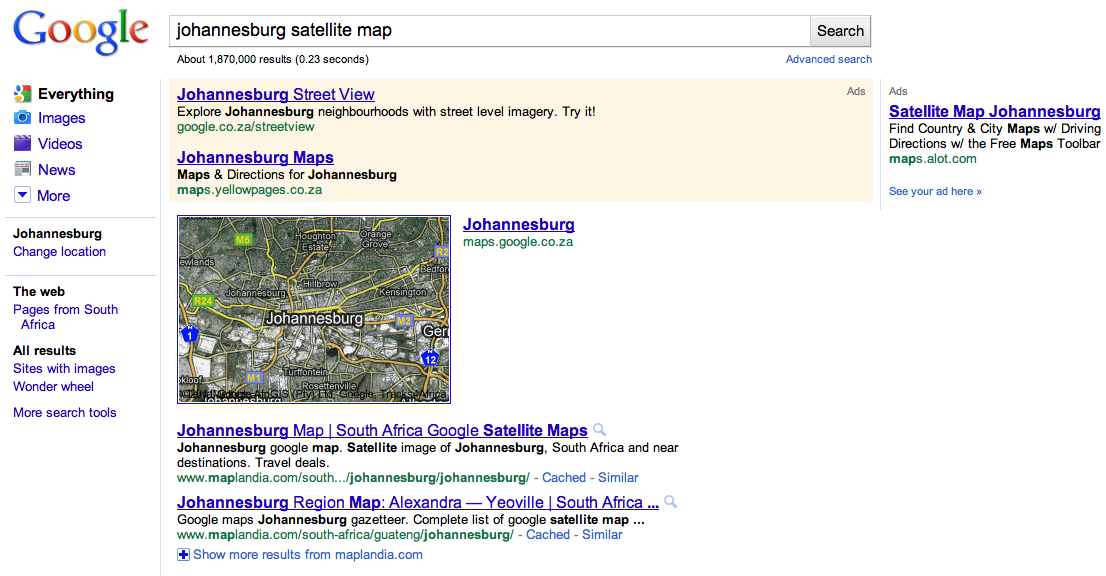 Google Satellite Maps In SA Search Results - Search satellite maps